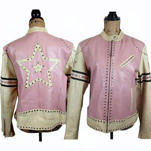 Rare Wilsons Pink Distressed Leather Moto Jacket